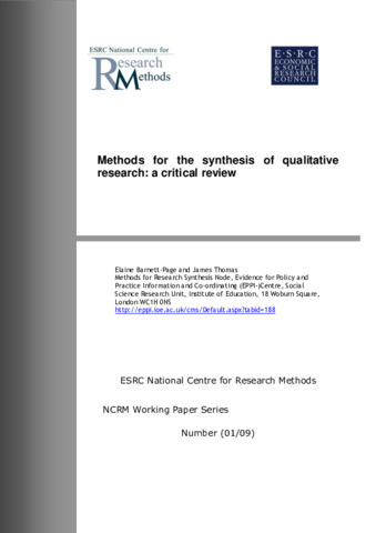meta-ethnography synthesising qualitative studies Meta-synthesis method for qualitative meta-synthesis method for qualitative research: a literature review a meta-synthesis of qualitative studies of free.
